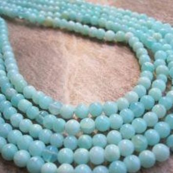 Peruvian Blue Opal round FULL STRAND by loveofjewelry on Etsy