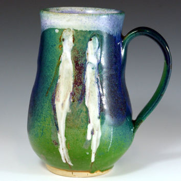 Coffee Mug, Handmade Stoneware Pottery Mug Purple Aquamarine Green Ceramic Mug Cup