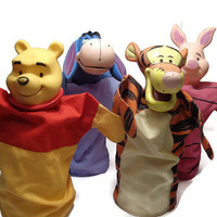 Winnie the Pooh Hand Puppets . Disney Toy . Puppet Theatre Doll . Storytelling .