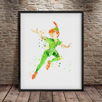Peter Pan print ,watercolor poster, Nursery art print,  Watercolor Disney, Nursery Peter Pan, Decor, Peter Pan Disney, Wall Art Print - a5