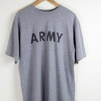 GREY ARMY TEE / army tshirt / gray army shirt / minimal / big font / vintage / mens / xl