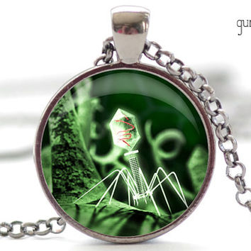 Bacteriophage Necklace, Halloween Jewelry, Science Geekery Pendant, Goth Charm (1255)