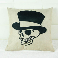 New Creative Skull Pattern 45x45cm Linen Cushion Covers For Sofa Decorative Throw Pillow Case Cotton Pillowcover Couch Decor