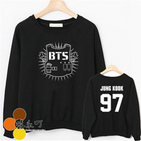 Kpop Korean Pop Bangtan Boys Long Sleeve Black and white BTS Women Mens Sweatshirts