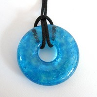 Blue Necklace, Donut Pendant, Blue Jewelry - Tropical Waters - 3832