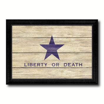 Liberty or Death Flag Goliad Texas Battle Independence Military Flag Texture Canvas Print with Black Picture Frame Gift Ideas Home Decor Wall Art