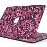 Pink and Wine Damask Watercolor Pattern - MacBook Pro with Retina Display Full-Coverage Skin Kit