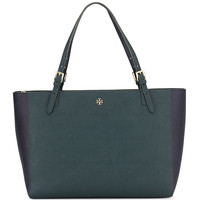 York Saffiano Leather Tote Bag, Jitney Green/Navy - Tory Burch