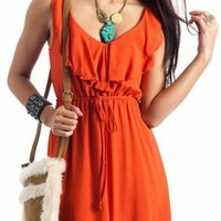 ruffled tie-waist tank dress $31.10 in BLACK NAVY ORANGE - Casual | GoJane.com