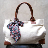 Cute Floral Purse Scarf Hair Scarf Hair Wrap Neck Bow Hair Bow Brown Cream Peach Orange Green