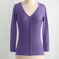 Scholastic Mid-length 3 Button Down Charter School Cardigan in Orchid