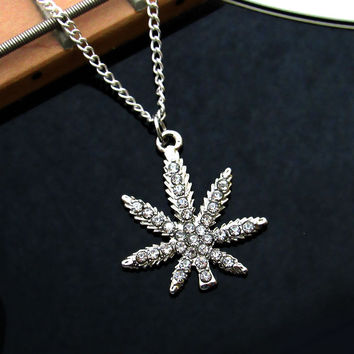Antique Silver Marijuana Leaf Cannabis Necklace Pot Rhinestone Charm