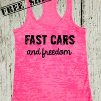 Fast Cars and Freedom. Southern Girl Tank Top. Country Tank Top. Southern Tank. Country Shirt. Pink Tank. Southern Clothing. Free Shipping
