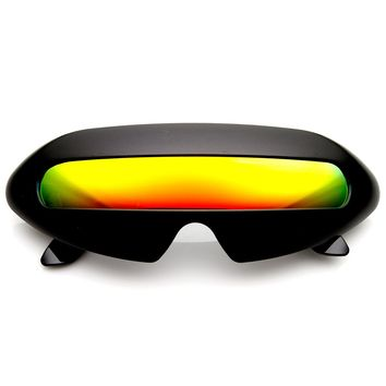 Futuristic Shield Single Lens Oval Party Novelty Cyclops Costume Wrap Sunglasses