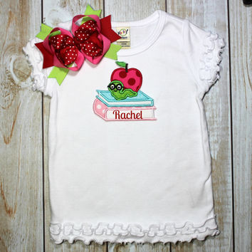 Back to School Shirt Bookworm Personalized with Name~~ Includes Hair bow!