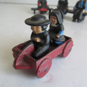 Amish Cast Iron Decor  Little Red Wagon  Amish Quaker Decor Amish Women Amish Men Vintage Cast Iron Decor Primitive Decor Amish Children