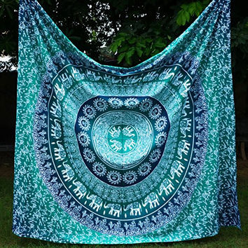 Apoorva's Green Indian Mandala Tapestry Hippie Hippy Wall Hanging Throw Bedspread Dorm Tapestry Decorative Wall Hanging....