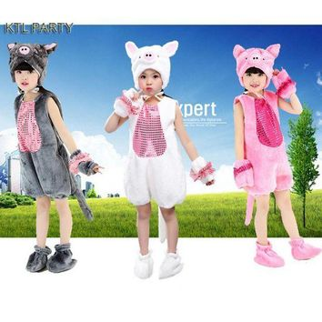 ICIKH6B KTL PARTY children kid girl party cosplay white grey pink pig costume with long tail  hat shoes clothes