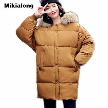 Mikialong Hooded Fur Collar Women Parka 2017 Thick Warm Long Padded Winter Jacket Women Solid Oversized Cotton Quilted Coat