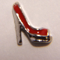 High heel shoe red silver