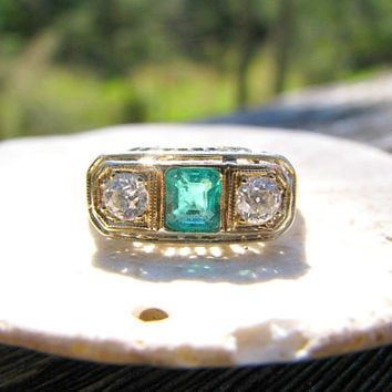 Art Deco Emerald Diamond Ring, Vivid Emerald Cut Emerald, Old European Cut Diamonds, Intricate Filigree in 18K White Gold