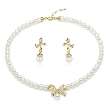Gold-Tone Ribbon White Shell Pearl Necklace and Earrings