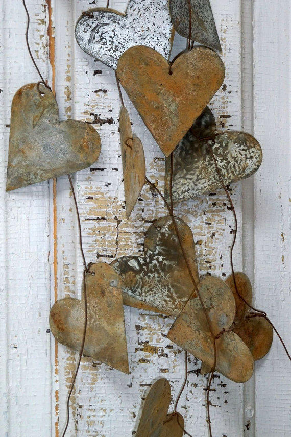 Heart wedding garland distressed rusty from for Shabby chic garland lights