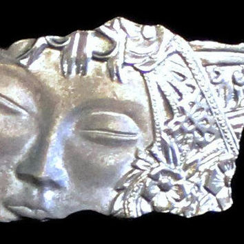 JJ Jonette Art Nouveau Brooch Of Woman's Face In Pewter