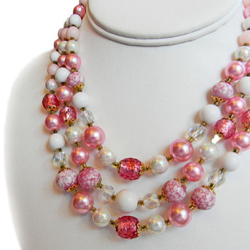 Pink White Bead Necklace Triple Strand Mid Century Signed Japan