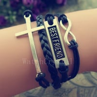 Infinity Cross& Best Friend Charm Bracelet Wax Cord Black Leather Handmade Jewelry Gift for girl and boy WB015