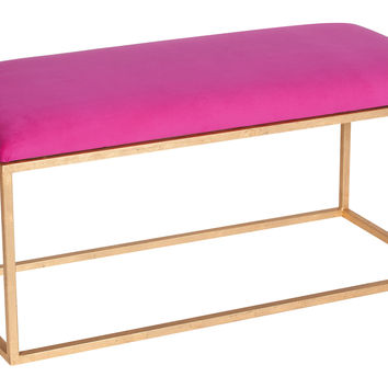 Moss Studio, Block Velvet Bench, Pink/Gold, Entryway Bench