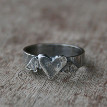Sterling Silver Winged Heart Ring - Rustic Jewelry - Rustic Ring - Angel Wing Heart