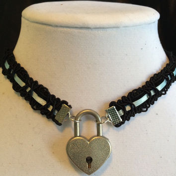 BABY BLUE Satin Ribbon and Black Velvet submissive Day Collar with Working Heart Padlock, 21 different satin colors