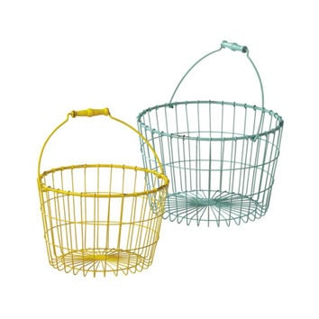 Stackable Wire Basket with Wooden Handle - Set of 2