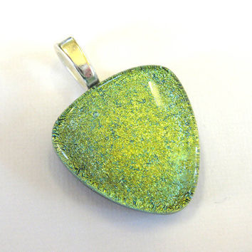 Yellow Gold Dichroic Glass Pendant, Dichroic Slider Jewerly - Champagne  by mysassyglass