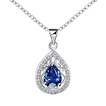 Curved Sapphire Pendant Drop Necklace