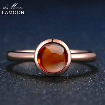 LAMOON Classic Simple Red Garnet Ring For Women 925 Sterling Silver Girl Party Show Statement Fine Jewelry Wedding Bands LMRI026