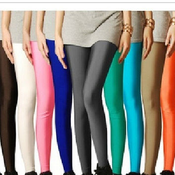 2014 stocking candy SHINY neon color leggings women's high stretched yoga pants top = 1932483076