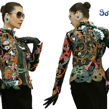 Genuine leather Exclusive handmade  womens jacket. New exclusive handmade flowers weaving perforation jacket, slim fit clothes. In stock!