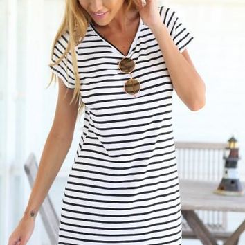 Casual Striped Dress V Neck Sexy Women Cotton Straight Long T Shirt Top Tee Boho vestido Summer Style Beach Wear Preppy Desses