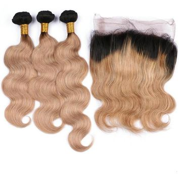 Ombre Brazilian Remy Human Hair Blonde Body Wave 3 Bundles With Closure Lace 1B/27