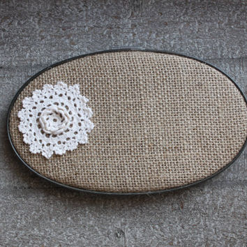 Cottage Chic Doily Lace Burlap Embroidery Hoop Art Shabby Chic Wall Decor