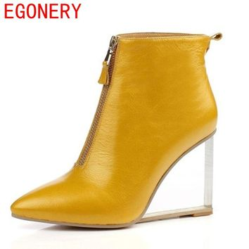 EGONERY woman fashion ankle boots side zipper modern pointed toe riding equestrian european and american style strange solid