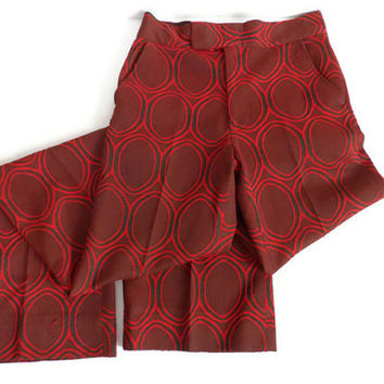1960's Vintage Polyester Pants / Red and Black / Christmas Gift