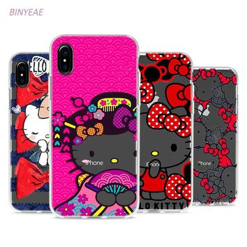BINYEAE Cute Hello Kitty Style Clear Soft TPU Phone Cases for Apple iPhone X 8 7 6 6s Plus 5 5S SE 5C