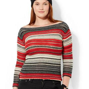 Lauren Ralph Lauren Plus Striped Boatneck Tunic