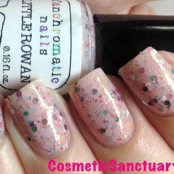Little Rowan Nail Polish - cherry blossom pink with multicolor glitter