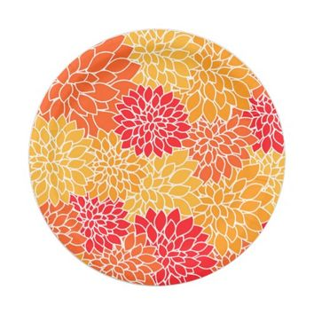 Cute Vintage Dahlia Flower Pattern Girly Floral Paper Plate