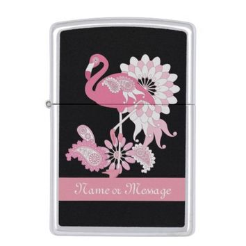 Pink Flamingo Design Personalized Girly Cool Zippo Lighter