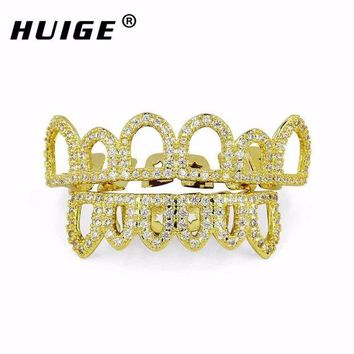 ac PEAPO2Q Hip Hop CZ Teeth Grills Set Micro Paved Cubic Zircon Caps Shaped  4 Open Hollow Top & Bottom Grill Christmas vampire Grills Sets